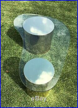 RARE Signed Curtis Jere Pedestal Kidney Glass Coffee Table Mid Century Modern