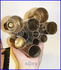 RARE VTG 1960s MCM MODERN 10.5 ORIG. GIO PONTI BRASS TUBULAR 5 CANDLE HOLDER