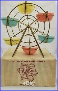 RARE Vintage Hazel Atlas Ferris Wheel Server with 6 Pastel Bowels withoriginal Box