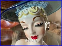 RARE Vintage Lady Head Vase BLUE GLASS HAT GAL Headvase