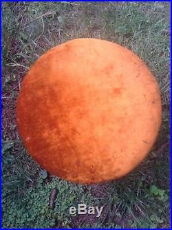 RARE Vintage MCM Orange Velvet Retro Mushroom Footstool Ottoman Toadstool 70s
