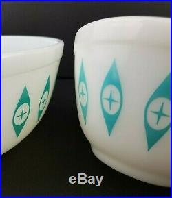 RARE Vintage PYREX ATOMIC EYES Chip And Dip Bowl Set MINT MID CENTURY MODERN