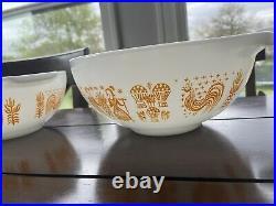 RARE Vintage Pyrex Orange Amish Butterprint Cinderella Mixing Bowl Set of 4