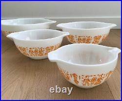 RARE Vintage Pyrex Orange Amish Butterprint Cinderella Mixing Bowls Set of 4