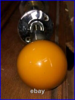 RARE gorgeous mid-century modern Bakelite door knob set yellow 2.25 diameter