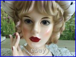 RARE in BLACK/WHITE Lady Head Vase CRISSCROSS CHRISSY Head Vase Relpo 1809