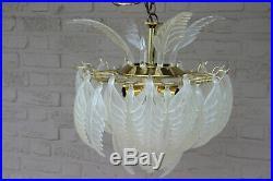 RARE italian mid century Retro chandelier vistosi leaves 1970