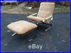 RS Associates, rare, high quality, chrome lounge chair and ottoman, good original