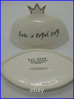 Rae Dunn Have A Royal Day Crown Queen Butter Cheese Dish Complete Rare Excellent