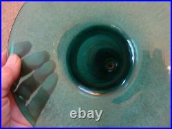 Rare 13 Tall Vintage BLENKO Cylindrical ART GLASS VASE SEA GREEN HUGE