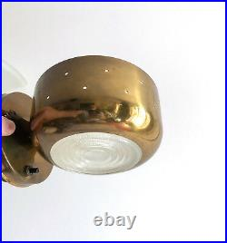 Rare 1950s John C. Virden Perforated Brass & Glass Wall Sconce Hollywood Moderne