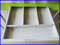 Rare 1950s Mid Century Modern Formica Kitchen Table 2 hidden leafs center drawer