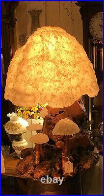 Rare 1960's Cypress Wood Mushroom Lamp