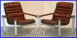 Rare 1960's Pulkka Ilmari Lappalainen Chrome & Brown Leather Armchair Sofa Suite