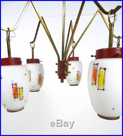Rare 50s MID Century Italian Stilnovo Chandelier Ceiling Lamp Vintage
