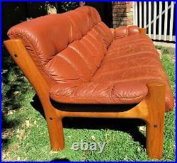 Rare 70s Vintage Ekornes Montana Leather & Teak Sofa MID Century Danish Modern