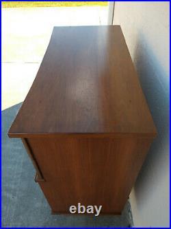 Rare Arne Vodder Style Dresser Curved Front & Sculptural Walnut Drawer Pulls MCM