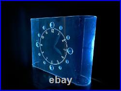 Rare Art Deco Lackner Lucite Curvaline Neon Glo Clock Mid Century Modern Eames