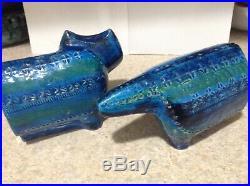 Rare Bitossi Aldo Londi Blu Cat Bookends -Mid Century Modern Italian Art Pottery