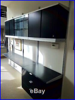 Rare Black George Nelson Css Units, 4 Cabinets, Lighted, Desk, Glass Display