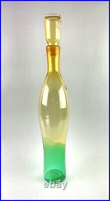Rare Blenko Glass 6103 Consorzio Decanter in Topaz/Emerald Nickerson Design
