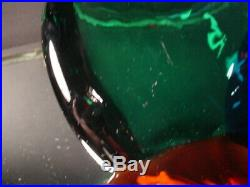 Rare Blenko #Wayne Husted Tri-Color Lobed Bowl #5831 C. 1958 Mid-Century Signed