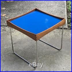 Rare Cathrineholm Norway Enamel / Teak Top Tray Table Mid Century Danish Modern