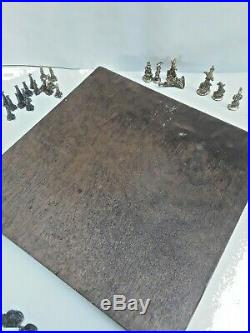 Rare Charles Martel Richard Synek Mid Century Modern Brutalist Metal Chess Set