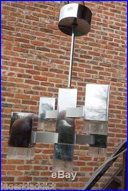 Rare Cubic Gaetano Sciolari Five Lights Chandelier MID Century 1960 Signed