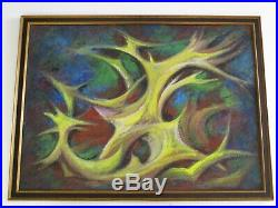 Rare Emil Kosa Jr Painting MID Century Mod Abstract Cubist Cubism Expressionist