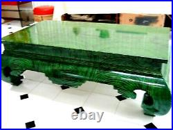 Rare Faux Malachite Lacquered Ming Asian Coffee Table Focal Point 1970's