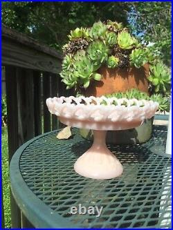 Rare Fenton Pink Glass Reverse C Lacy Edge Pedestal Cake Stand C 1952