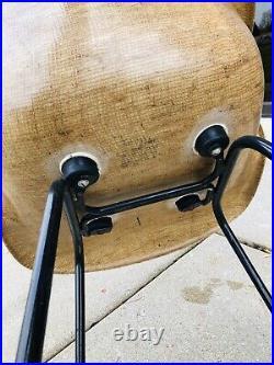 Rare Fiberglass/Burlap Shell Arm Chair Mid Century Modern Cole Steel Eames Era