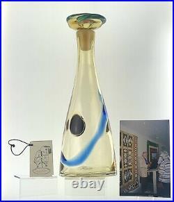 Rare Handmade Blenko Glass 7602-WH Kaleidoscope Decanter Wayne Husted Design