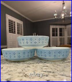 Rare Htf Foulard Pyrex Cereal Bowls (3) #1416 Light Blue