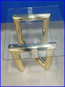 Rare Karl Springer Style Z Brass Modern Side Table Milo Baughman Era + Glass