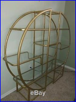 Rare MID CENTURY MODERN Circular MILO BAUGHMAN ETAGERE Brass & Glass Shelves
