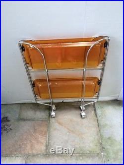 Rare MID Century Modern Chrome Bar Cart Trolley Wheels Orange Trays
