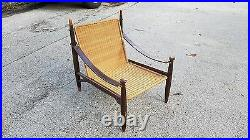 Rare MID Century Modern Frank Kyle Woven Reed, Rosewood And Leather Lounge Chair