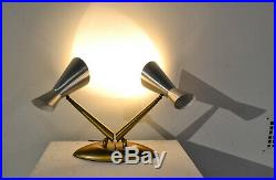 Rare MID Century Stilnovo Laurel Style Dual Cone Desk Light-fabulous