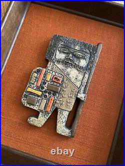 Rare Marcello Fantoni Italian Brutalist Caveman Pottery Art Wall Tile MCM VTG