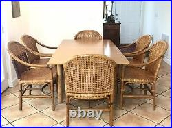Rare Mcguire Laced Leather Rattan Dining Set Flip Table 6 Chairs MID Century