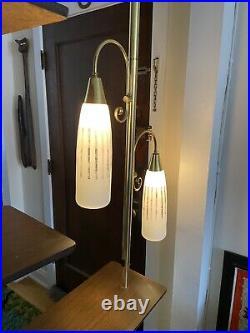 Rare Mid Century Brass Tension Pole Room Divider Retro Lamp Vintage Shelf