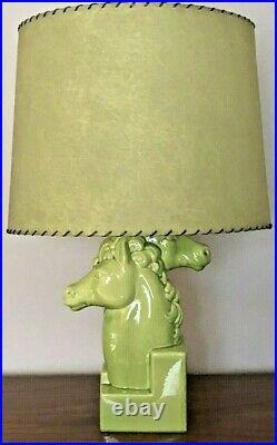 Rare Mid Century Double Headed Horse Lamp