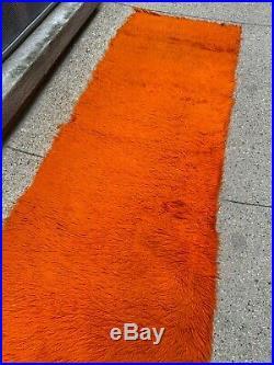 Rare Mid Century Modern 7 Runner Area Rug Orange Shag Retro Vintage