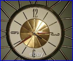 Rare Mid Century Modern Elgin Eames Atomic Sunburst Starburst 29 Wall Clock