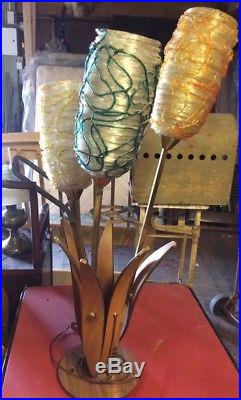 Rare Mid Century Modern High Spun Lucite Spaghetti & Wood Teak Leaves Lamp 42