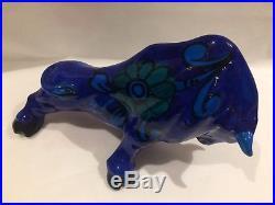 Rare Mid-century Modern Aldo Londi Bitossi Remini Blue Bull Sculpture