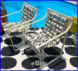 Rare Mod Marimekko Style Samsonite Patio Chairs Mid Century Modern Black & White