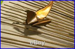 Rare Modern Jere Style Mid Century Wall Art Statue Seagulls Birds Sunburst